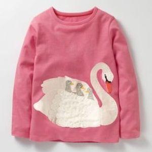 Mini Boden Animal Appliqué T-Shirt - Swan